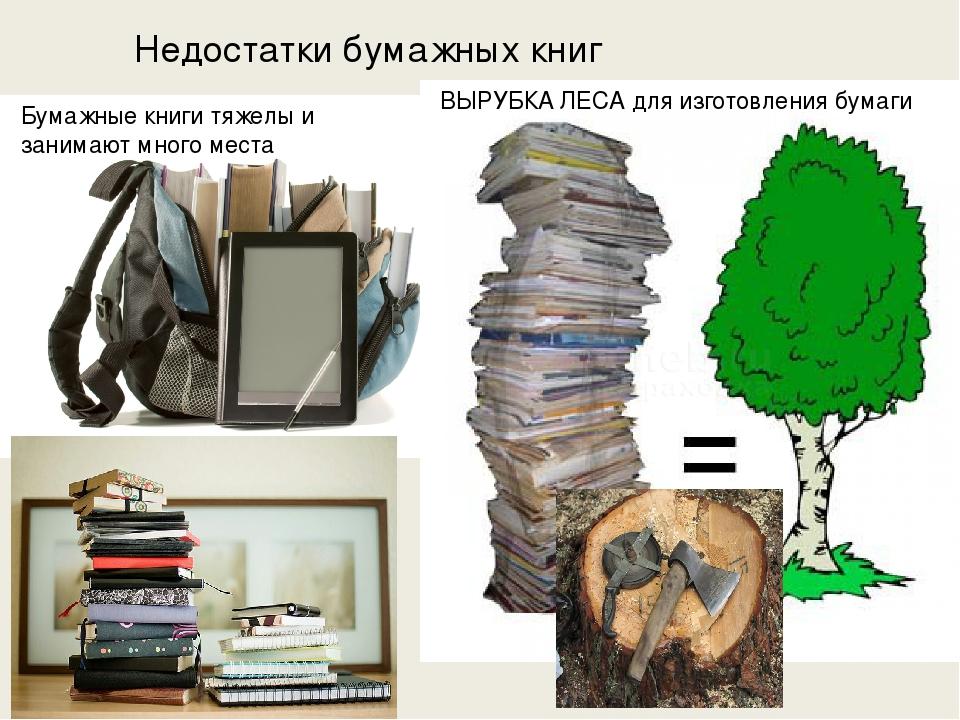 Недостатки бумажных книг Бумажные книги тяжелы и занимают много места ВЫРУБКА...