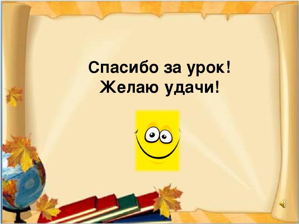 Спасибо за урок! Желаю удачи!