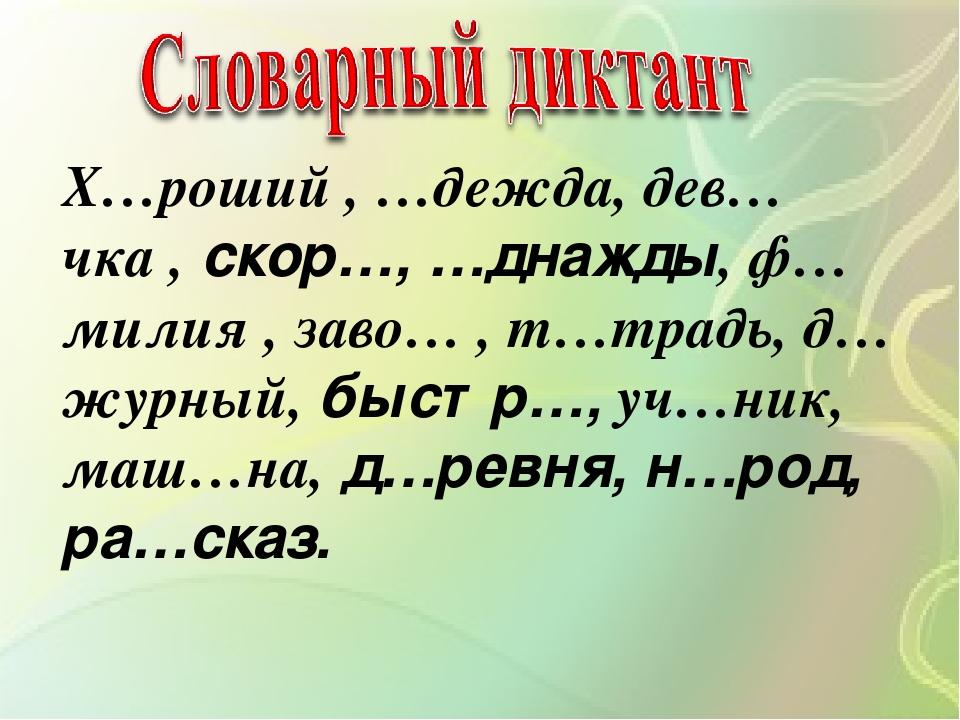 Картинки для словарных диктантов
