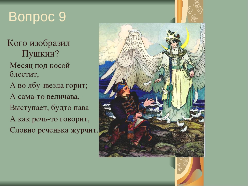 Вопрос 9 Кого изобразил Пушкин? Месяц под косой блестит, А во лбу звезда гори...