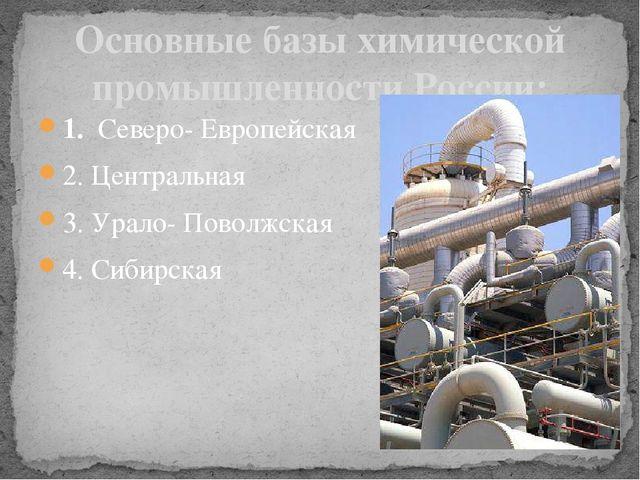 1. Северо- Европейская 2. Центральная 3. Урало- Поволжская 4. Сибирская Основ...