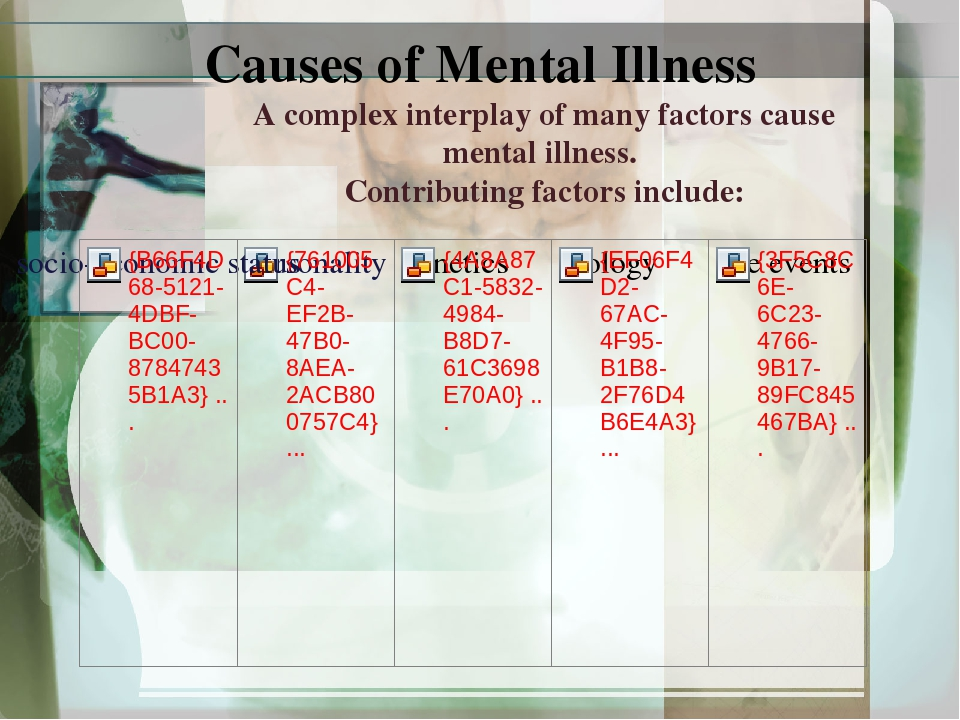 causes of mental illness While global rates of mental disorders in children have remained stable over time, the decline of infectious diseases will place mental disorders among the main causes of disease in children aged 4-15 years, according to.
