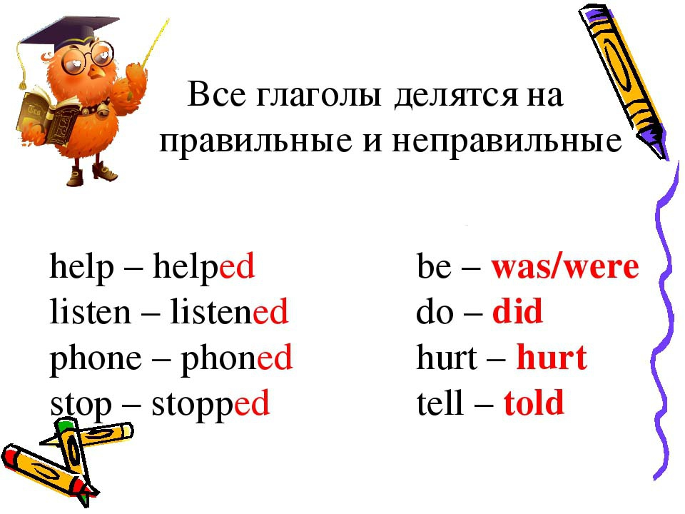 Произношение гласных Английские глаголы