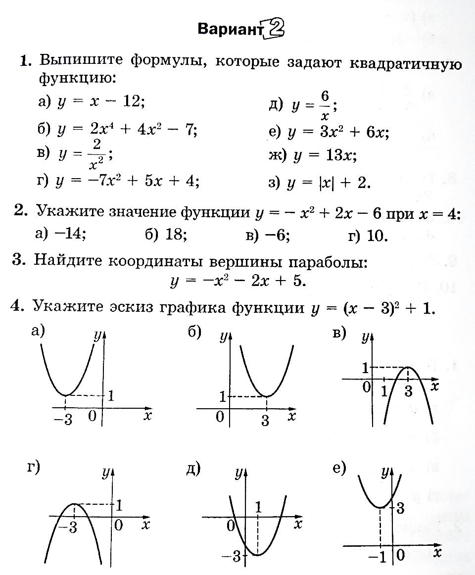 Графики функций контрольная работа 1114