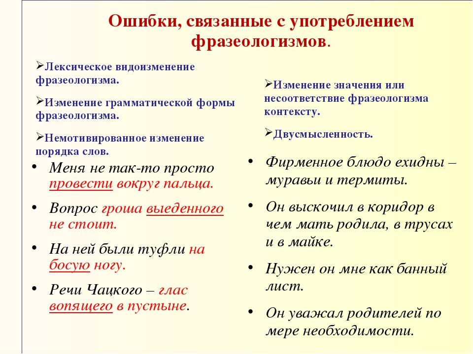 Ошибки, связанные с употреблением фразеологизмов. Лексическое видоизменение ф...