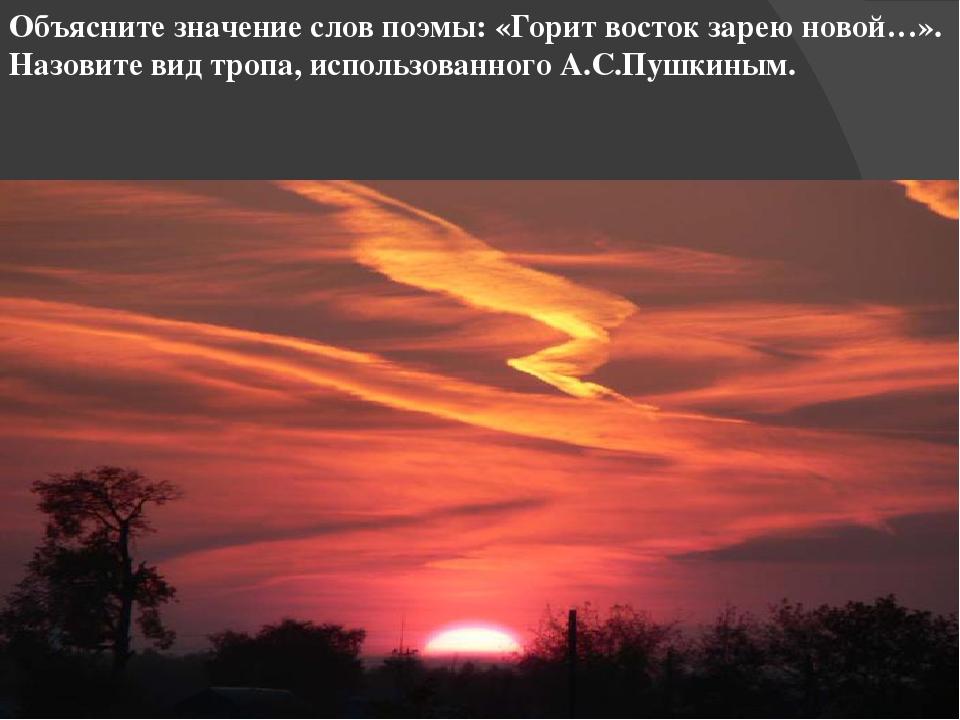 Объясните значение слов поэмы: «Горит восток зарею новой…». Назовите вид троп...