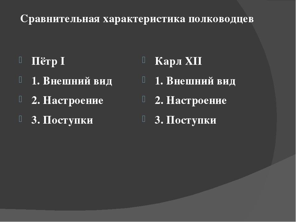 Сравнительная характеристика полководцев Пётр I 1. Внешний вид 2. Настроение...