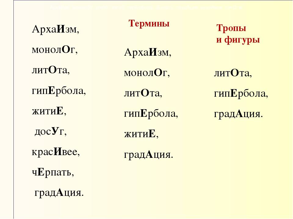 АрхаИзм, монолОг, досУг, житиЕ, гипЕрбола, чЕрпать, градАция, красИвее, литОт...