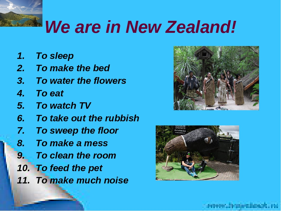 We are in New Zealand! To sleep To make the bed To water the flowers To eat T...
