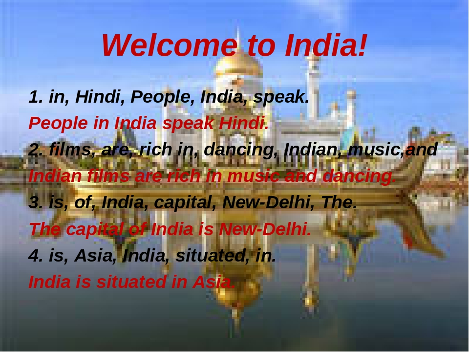 Welcome to India! 1. in, Hindi, People, India, speak. People in India speak H...