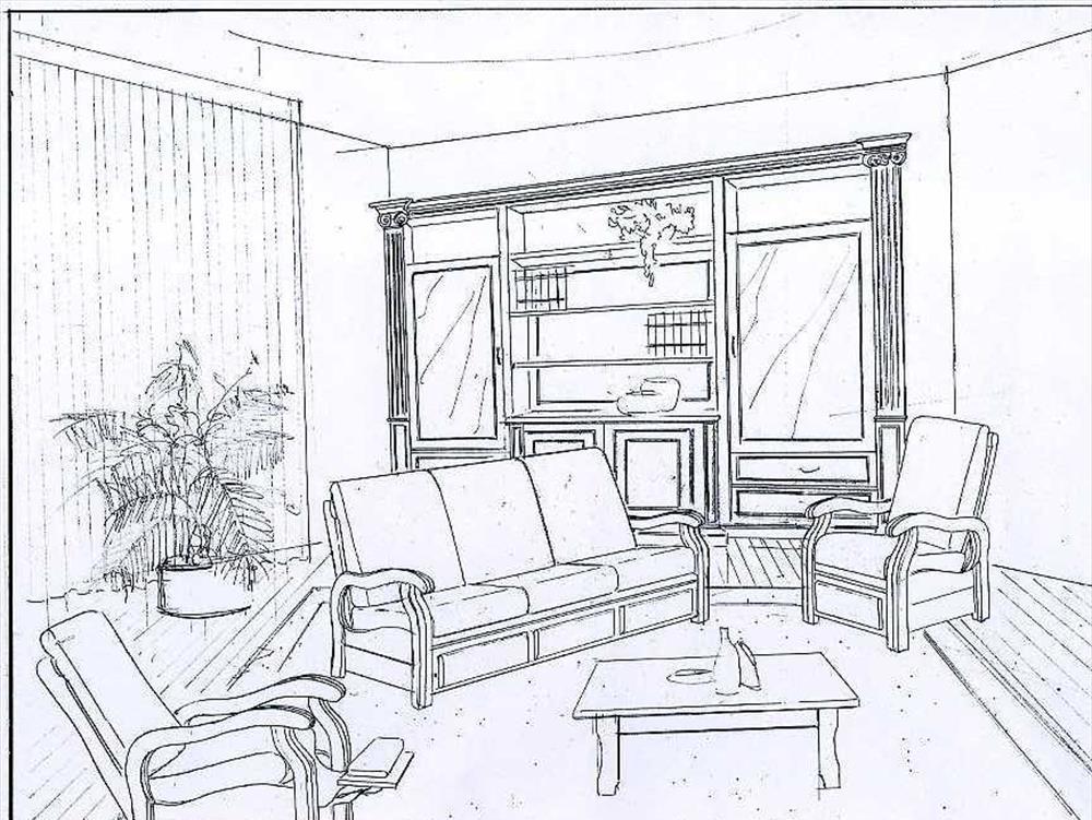 Раскраска комната с мебелью