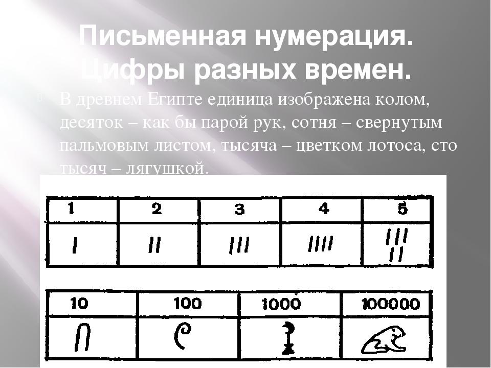 Письменная нумерация. Цифры разных времен. В древнем Египте единица изображен...