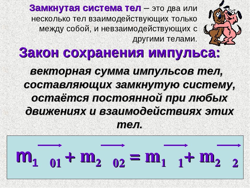 Закон сохранения импульса: векторная сумма импульсов тел, составляющих замкну...
