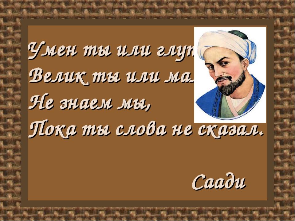 Умен ты или глуп, Велик ты или мал, Не знаем мы, Пока ты слова не сказал. Саади