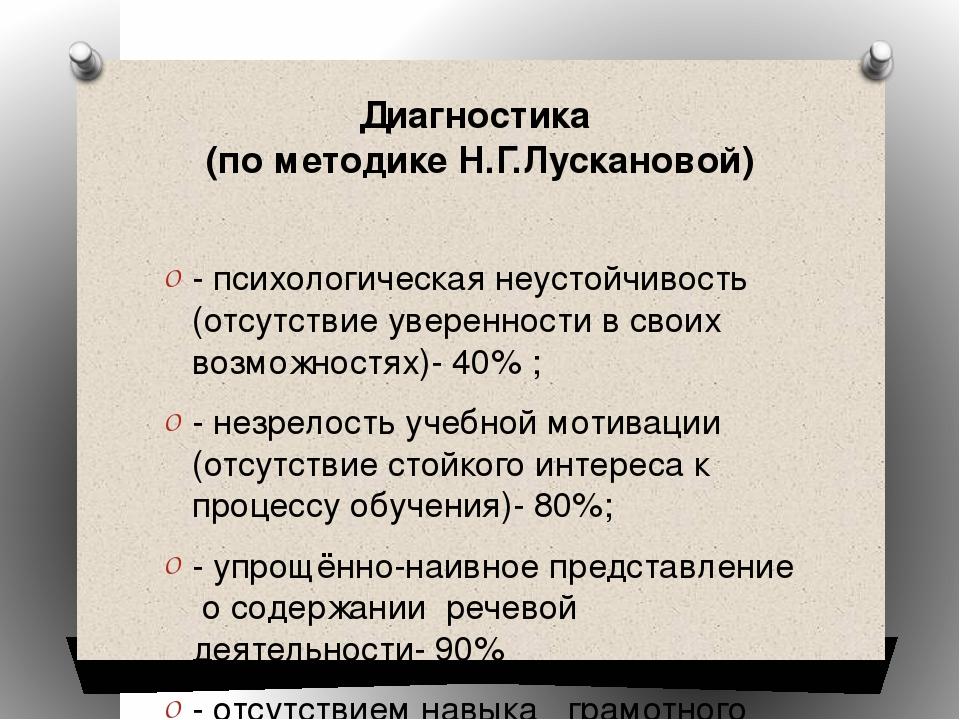 Диагностика (по методике Н.Г.Лускановой) - психологическая неустойчивость (от...