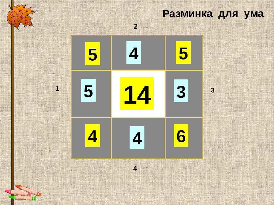 14 5 4 6 5 5 4 3 4 1 2 3 4 Разминка для ума