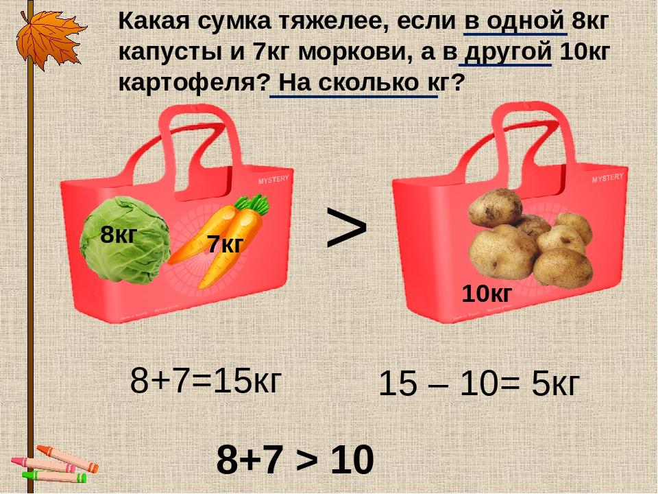 8кг 7кг 10кг Какая сумка тяжелее, если в одной 8кг капусты и 7кг моркови, а в...