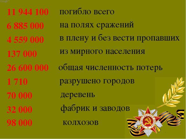 на полях сражений погибло всего 11944100 6885000 4559000 137000 26600...