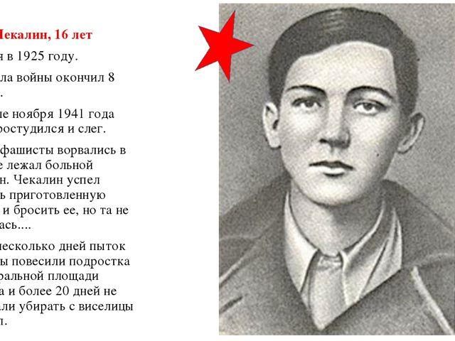Саша Чекалин, 16 лет Родился в 1925 году. До начала войны окончил 8 классов....