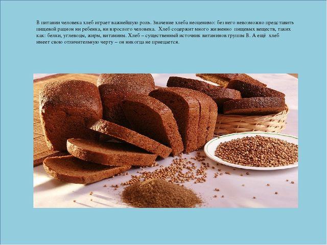 Реферат по теме Хлеб всему голова класс  В питании человека хлеб играет важнейшую роль Значение хлеба неоценимо без