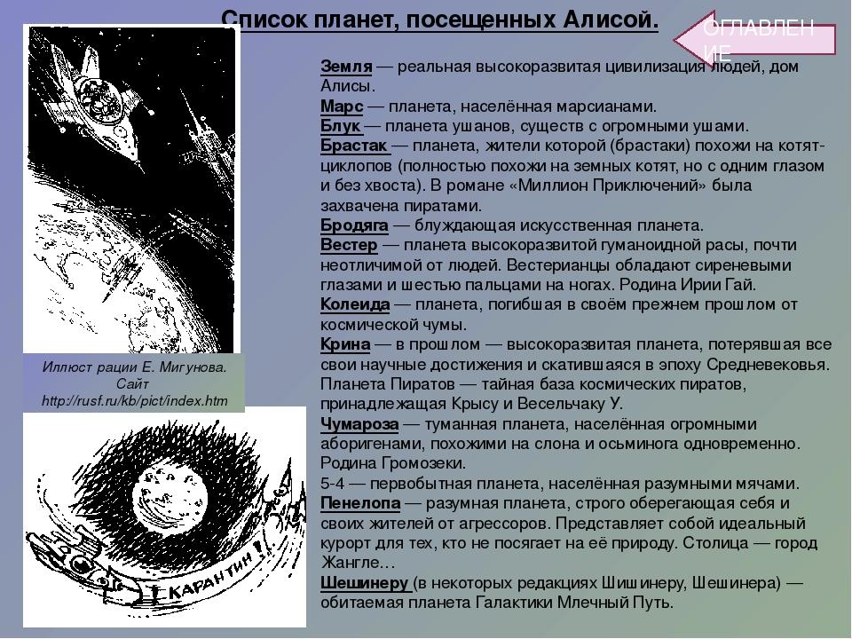 ОГЛАВЛЕНИЕ Земля — реальная высокоразвитая цивилизация людей, дом Алисы. Марс...