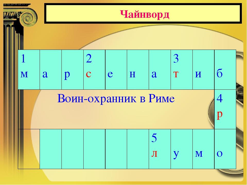 Чайнворд 1 м а р2 с е н а3 т и б Воин-охранник в Риме4 р 5...
