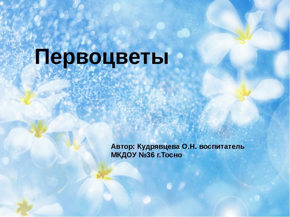 Первоцветы Автор: Кудрявцева О.Н. воспитатель МКДОУ №36 г.Тосно