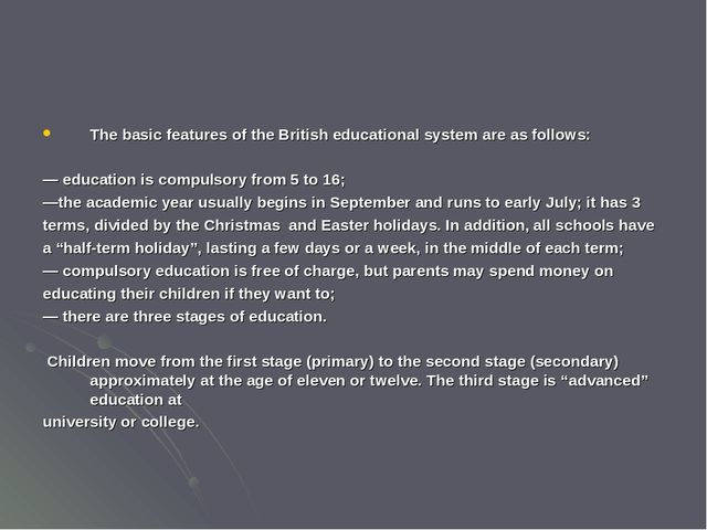 an outline of the british education system Discover the japanese educational system and what life is like as a student in one of the best-educated populations with the highest literacy rates.