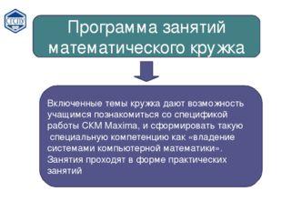 Программа занятий математического кружка Включенные темы кружка дают возможно