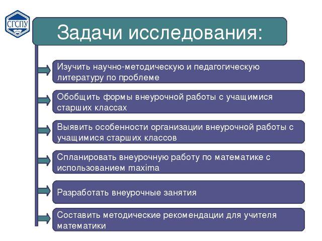 Задачи исследования: Изучить научно-методическую и педагогическую литературу...