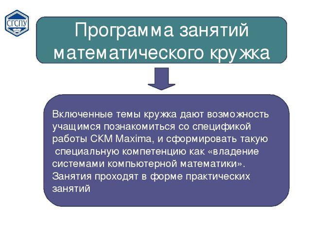 Программа занятий математического кружка Включенные темы кружка дают возможно...