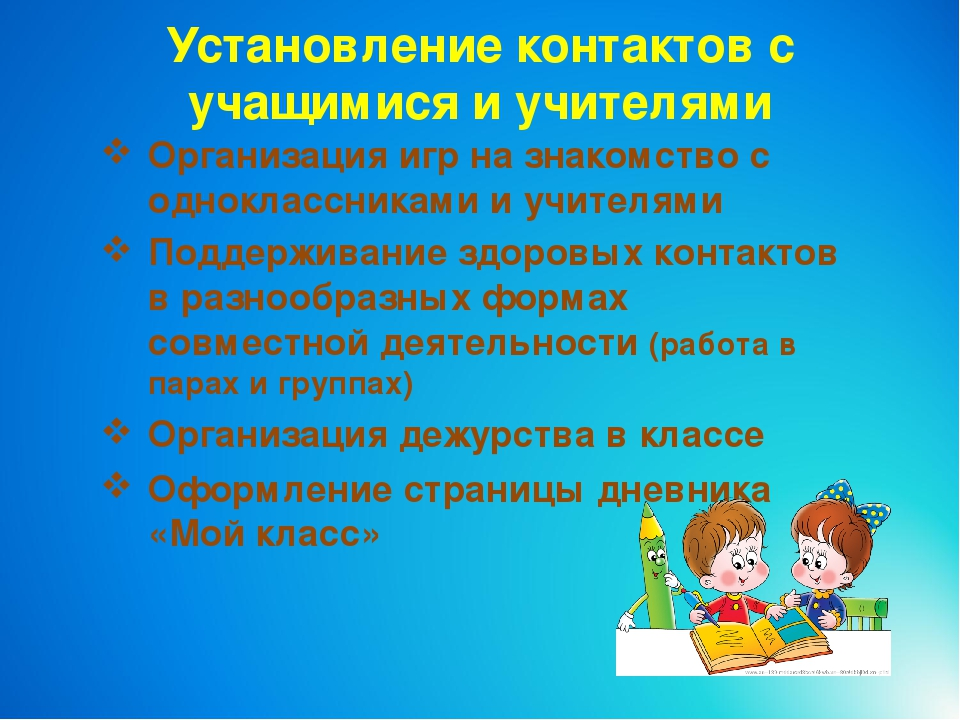 Установление контактов с учащимися и учителями Организация игр на знакомство...