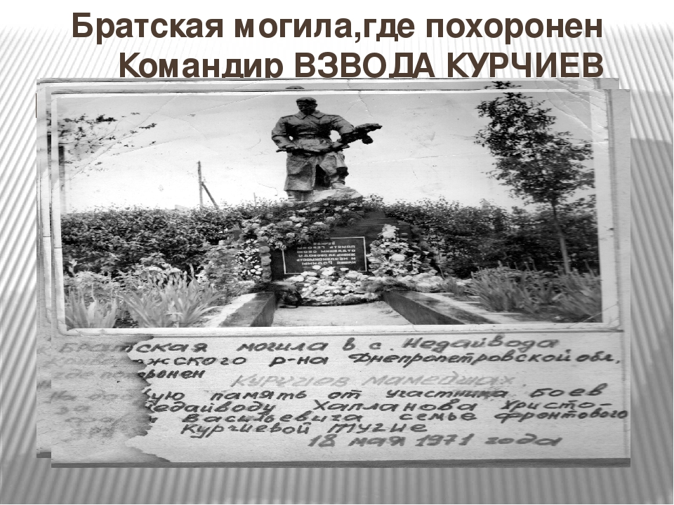 Братская могила,где похоронен Командир ВЗВОДА КУРЧИЕВ МАМЕДШАХ.