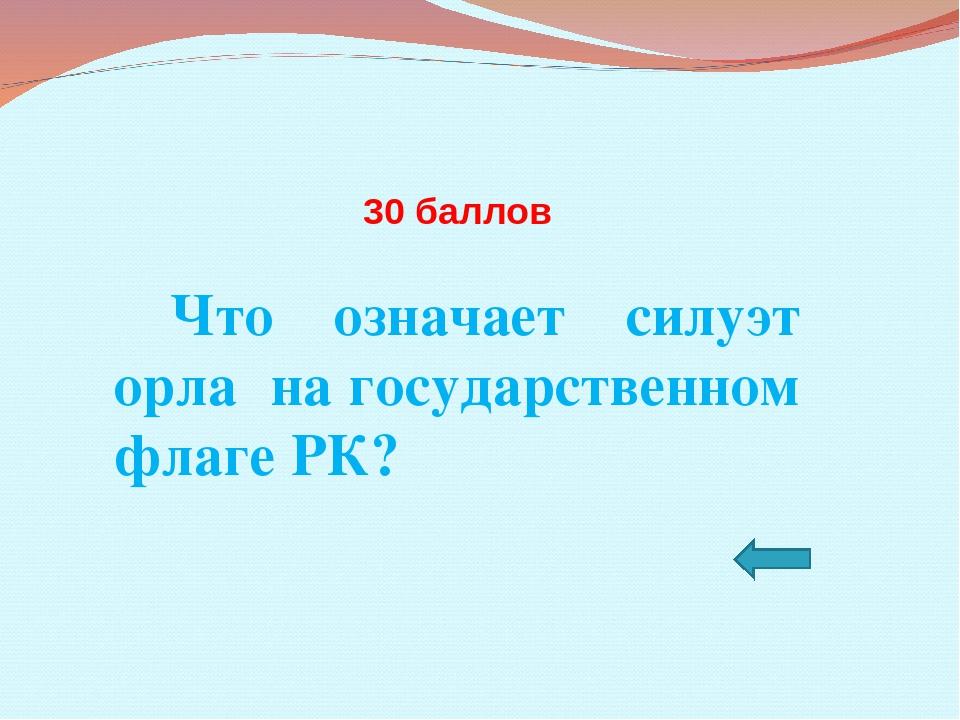 30 баллов Что означает силуэт орла на государственном флаге РК?