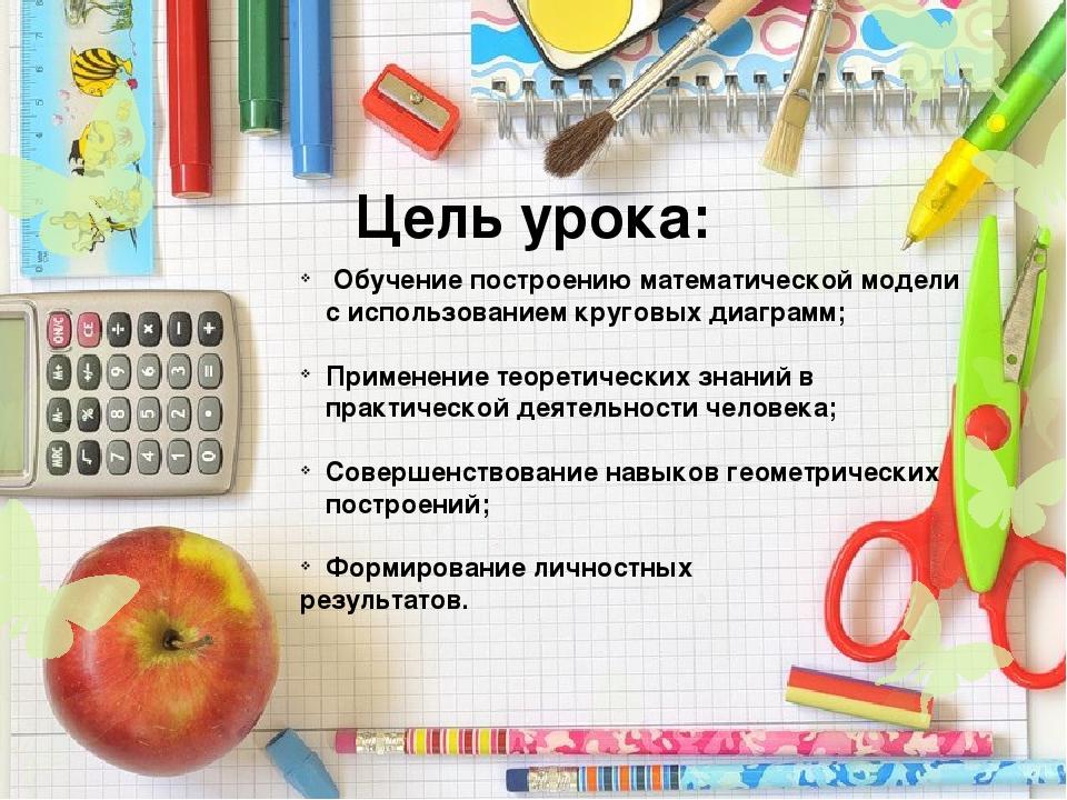 Цель урока: Обучение построению математической модели с использованием кругов...