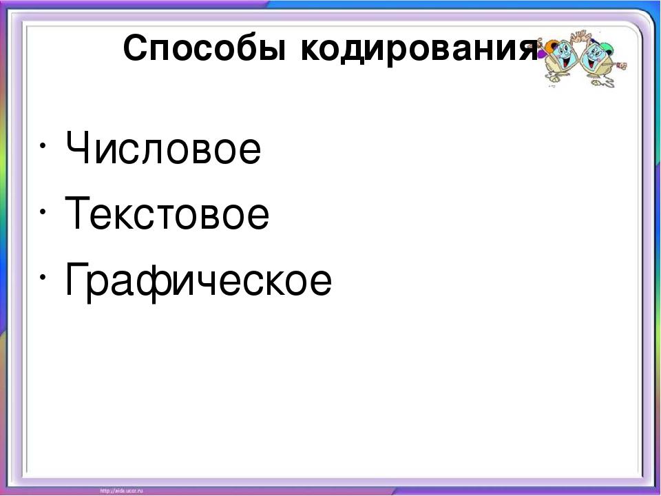 Способы кодирования Числовое Текстовое Графическое