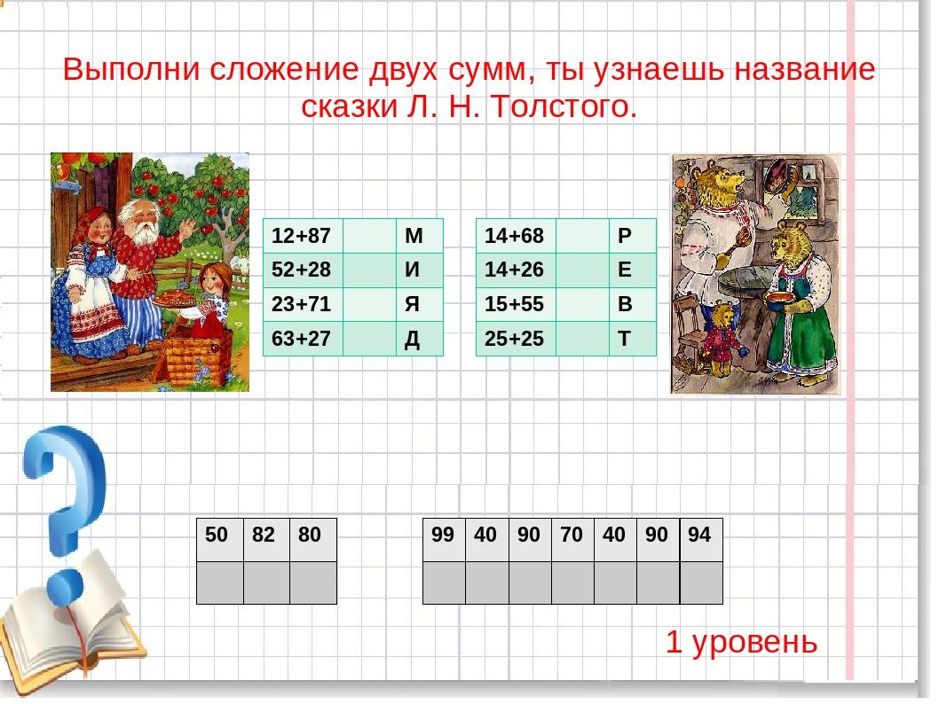 Выполни сложение двух сумм, ты узнаешь название сказки Л. Н. Толстого. 1 уров...