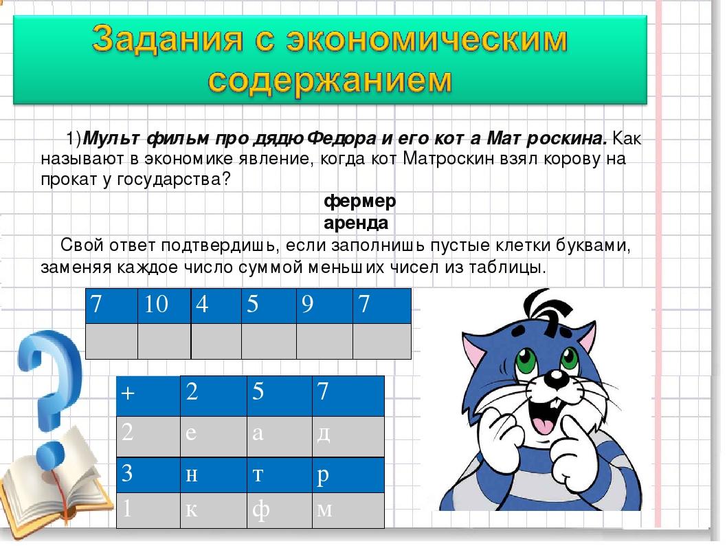 1)Мультфильм про дядю Федора и его кота Матроскина. Как называют в экономике...