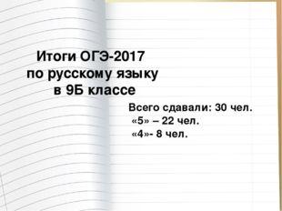 Итоги ОГЭ-2017 по русскому языку в 9Б классе Всего сдавали: 30 чел. «5» – 22