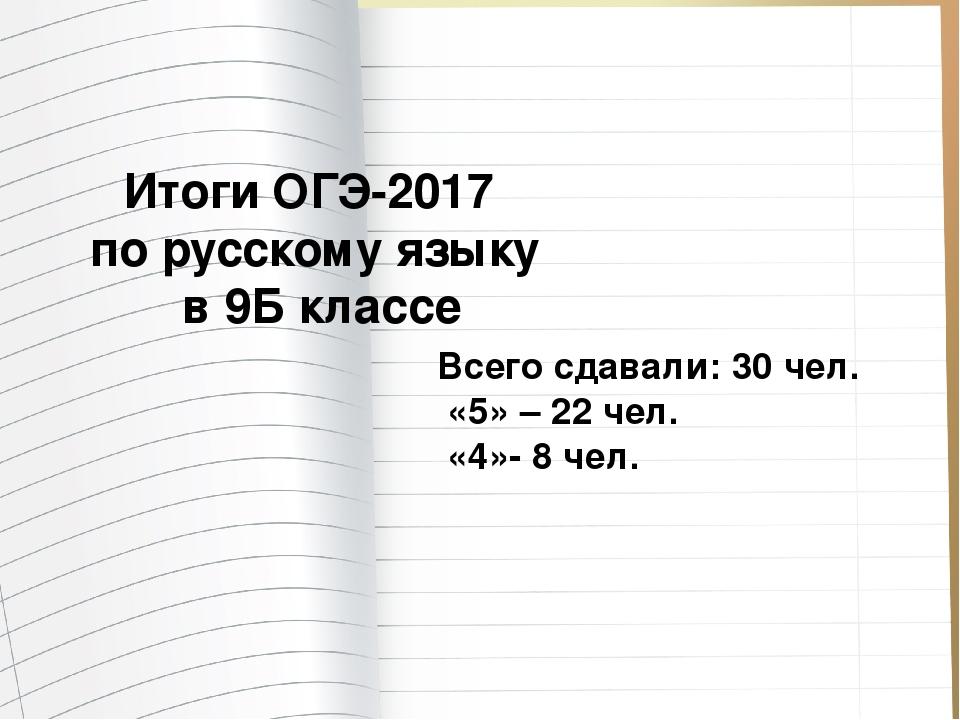 Итоги ОГЭ-2017 по русскому языку в 9Б классе Всего сдавали: 30 чел. «5» – 22...