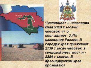Численность населения края 5123 тысячи человек, что составляет 3,4% населения