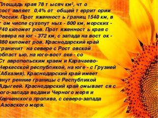 Площадь края 78 тысяч км2, что составляет 0,4% от общей территории России. Пр