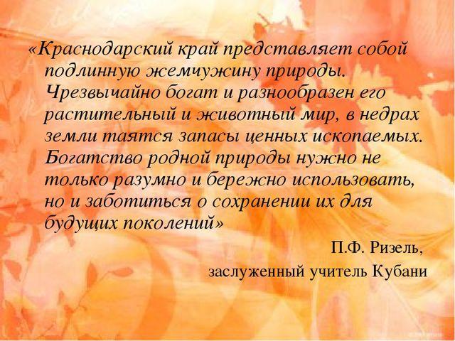 «Краснодарский край представляет собой подлинную жемчужину природы. Чрезвычай...