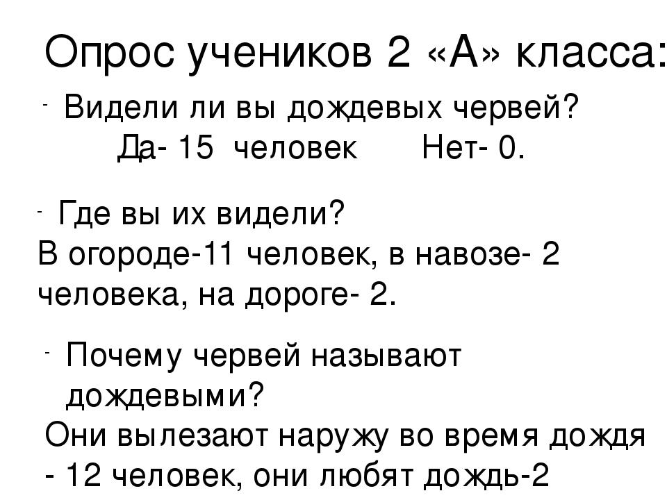 Опрос учеников 2 «А» класса: Видели ли вы дождевых червей? Да- 15 человек Нет...