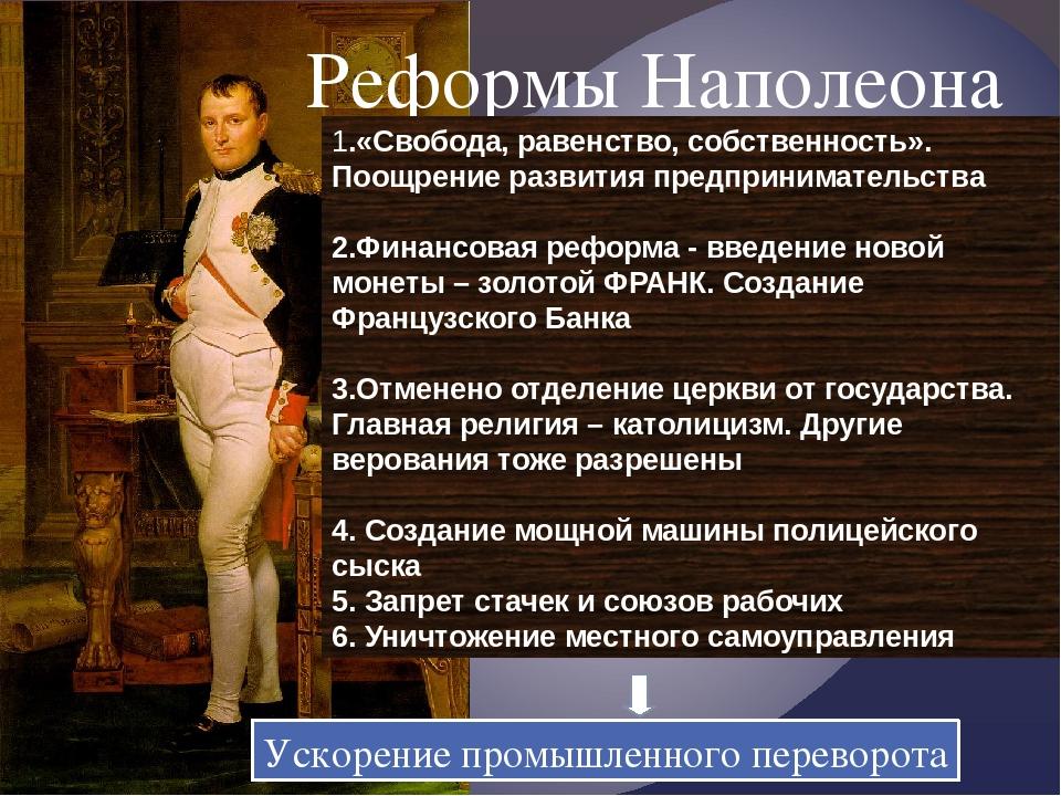 Реформы Наполеона 1.«Свобода, равенство, собственность». Поощрение развития п...