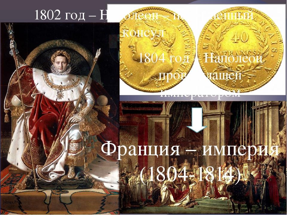 1802 год – Наполеон – пожизненный консул 1804 год – Наполеон провозглашен имп...