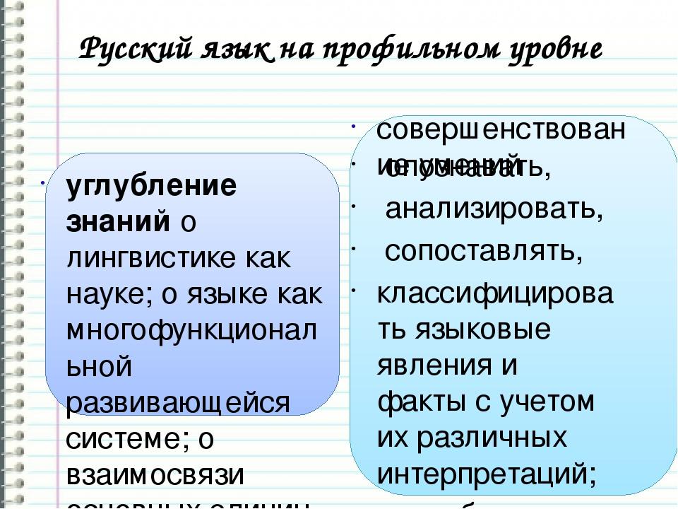 Русский язык на профильном уровне углубление знанийо лингвистике как науке;...