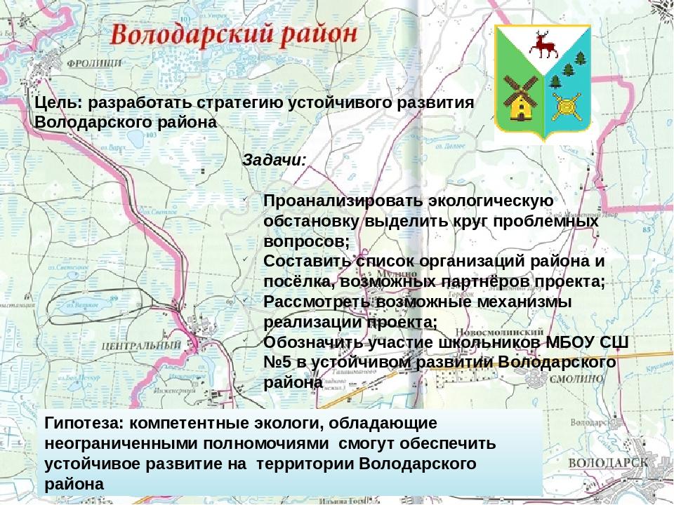 Цель: разработать стратегию устойчивого развития Володарского района Задачи:...