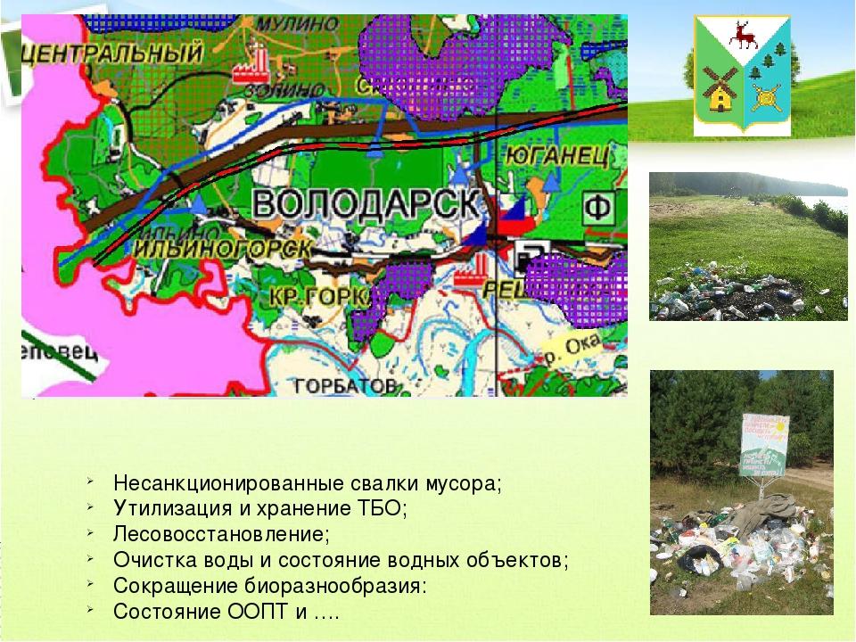 Несанкционированные свалки мусора; Утилизация и хранение ТБО; Лесовосстановле...