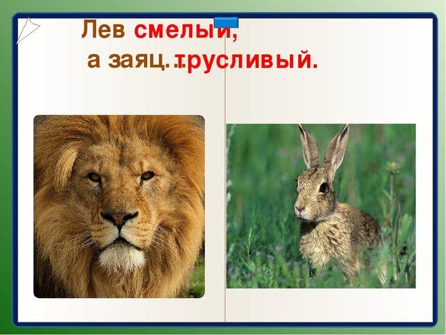 Лев смелый, а заяц… трусливый.